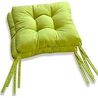DAGOSTINO HOME Conjunto luxury de 2 cojines silla 40x40x7cm - Color musgo, para interior y exterior, lavable fabricado en España.