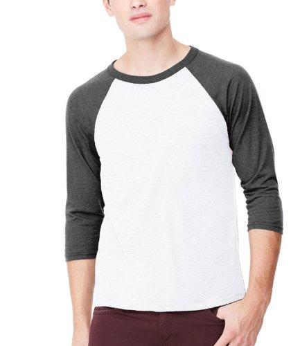 Leinwand Herren 3/4Sleeve Baseball T-Shirt Gr. X-Large, White/Charcoal Tri-Blend