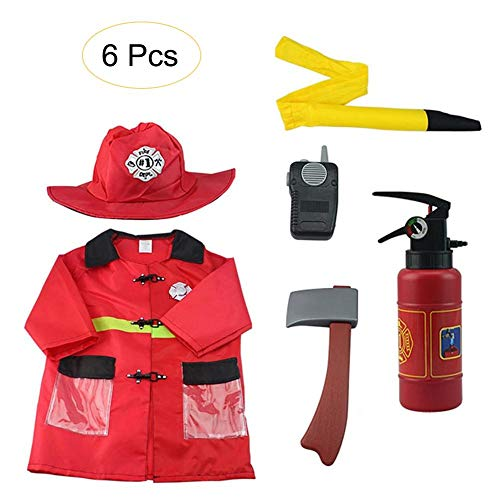 TODAYTOP 6er Set Fire Chief Kostüm Rollenspiel Kostüm Dress-Up Set Feuerwehrmannanzug für Kinder Feuerwehranzug mit Helm (Fire Chief Kostüm)