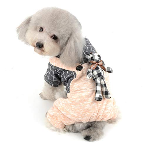 SELMAI Fleece-Jumpsuit für Welpen, Strick, Pullover, Overall mit Hose, für kleine Hunde, Katzen, Hund, Mädchen, Jungen, weiche Strampler, Outwear, Karo, Hemd, Fellkragen, Wintermantel