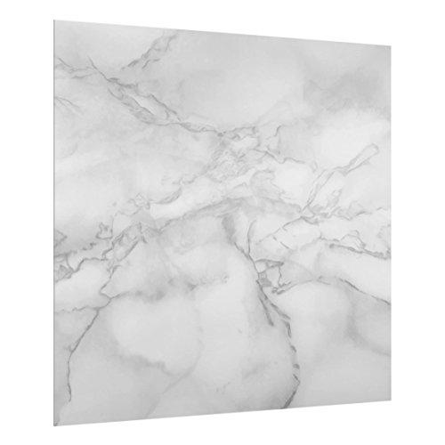 Bilderwelten Spritzschutz Glas - Marmoroptik Schwarz Weiß - Quadrat 1:1, HxB: 59cm x 60cm