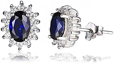 JewelryPalace Pendientes Princesa Diana Kate Middleton con zafiro oval en 925 plata