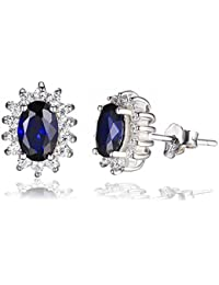 JewelryPalace Pendientes Princesa Diana Kate Middleton con zafiro oval en 925 plata