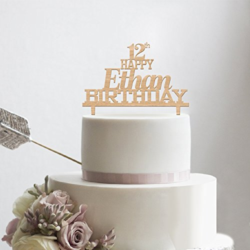 kiskistonite Holz Happy Birthday Kuchen Topper - Happy 12. Jahrestag für Jungen Mädchen Name angepasst - Rustikal Gastgeschenken Party Dekorieren Supplies (Junge Royal Party Supplies)