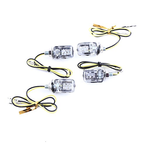 VGEBY 4Pcs 12V Universal-Motorrad-Blinker-Blinker-Licht 4 X 6 LED Mini-LED-Lampe ( Farbe : Plated Silver )