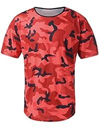 2296ba274 waotier Camiseta De Manga Corta De Hombre De Estiramiento De La Aptitud del  Camuflaje De Los Hombres…