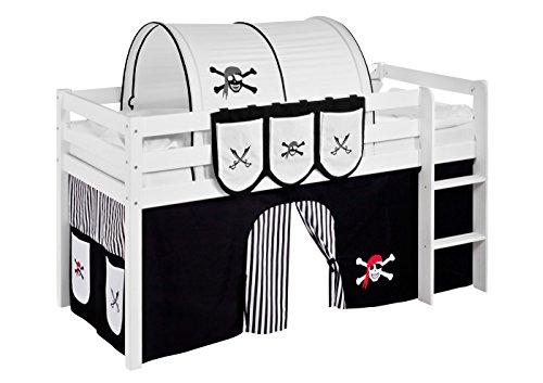 Vorhang Pirat Schwarz Weiß - für Hochbett, Spielbett und Etagenbett
