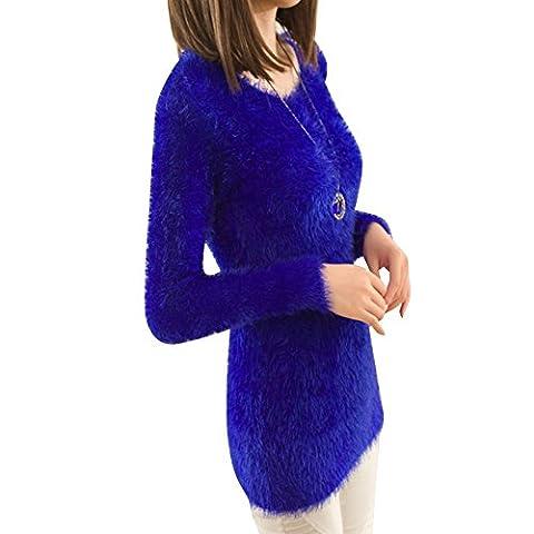 Dream Garden Women Winter Mohair Warm Long Sleeve Round Collar Blouse Tops Sweatershirt (Blue)