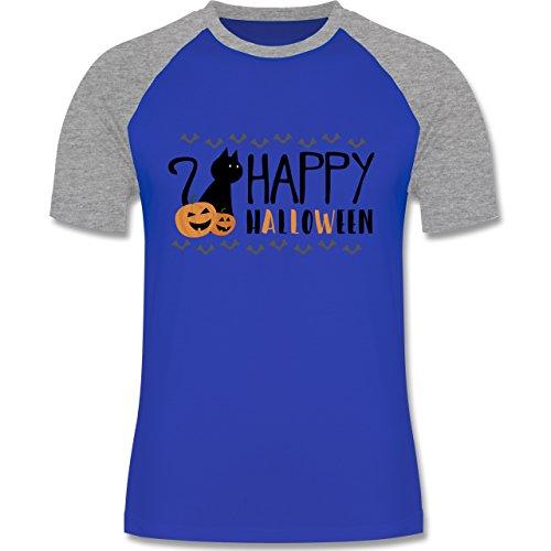 Halloween - Happy Halloween - zweifarbiges Baseballshirt für Männer Royalblau/Grau meliert