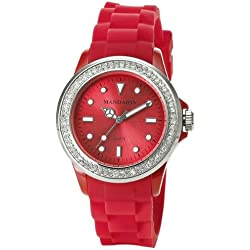 Diamante Red Mandarin Watch Modern Ladies Watch with Silicone Band
