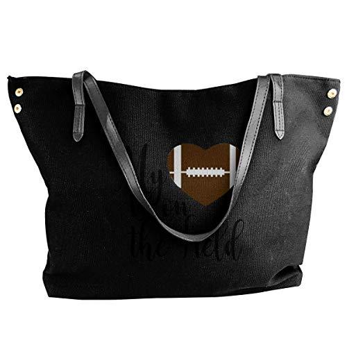 liangxiquguidaojiaotongshe My Heart Is On The Field Women's Tote Bags Canvas Shoulder Handbags Satchel Bag