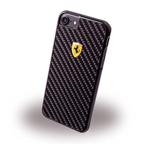 Ferrari FEPICHCP7SI Echte Carbon-Faser Hart Schutzhülle für Apple iPhone 7 schwarz/Litze silber schwarz