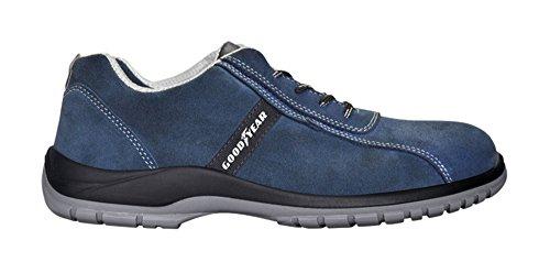 Scarpa bassa da lavoro Goodyear G3000 S1P SRC in pelle crosta scamosciata blu con puntale in composito e soletta antiperforazione taglia 47
