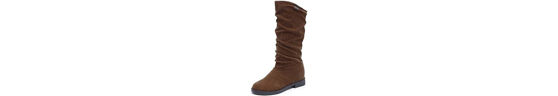 KHSKX-Otoño - Invierno Coreano Plato Manga Corta Botas Suede Boots Botas De Tacon Plano Planteado Barril Pendiente... -