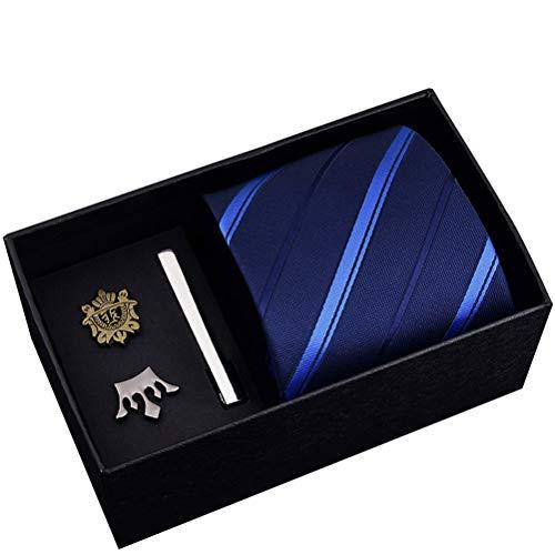 Adelina Geschenkbox Herren 8 Cm Abendgarderobe Business Krawatte Brosche Krawatte Clip Fünfteiliger Anzug Stoff Mit Hoher Dichte Zubehör Set (Color : HVC8005, Size : Size)