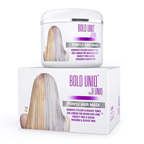 Der SIEGER 2019 - Silber Haarmaske für silbernes & blondiertes Haar - Purple Hair Mask BOLD UNIQ by B Uniq no yellow - intensive Haarpflege für trockenes, strapaziertes & geschädigtes Haar - 200 ml