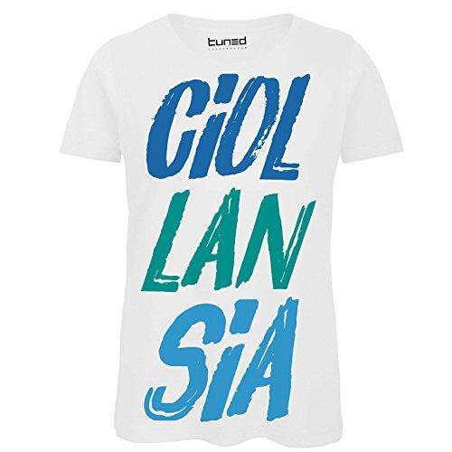 Maglietta donna t-shirt divertente con stampa frasi ironiche ciollansia tuned, colore: bianco, taglia: m