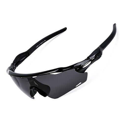 BATFOX Polarisierte Sonnenbrillen Fahrradbrille Radbrille Sportbrille Herren Damen für Radsport Fahrrad Baseball Skifahren Sport Brille mit Wechselobjektiven unzerbrechlichem Rahmen- Schwarz