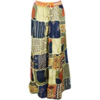 Mogul Interior Women Long Skirt Green Blue Vintage Printed Patchwork Rayon Flirty Skirts S/M