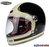 Viper Moto F656 INTEGRAL ESTILO RETRO VINTAGE CLASSIC TRACK GRINGO CUSTOM CHOPPER BOBBER CASCO DE FIBRA DE VIDRIO CREMA NEGRA Y LIGERA (M (57-58 CM))
