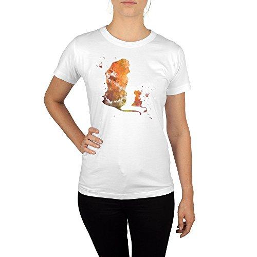 Frauen T-Shirt mit Aufdruck in Weiß Gr. L Löwe & Löwejunges Film Design Girl Top Mädchen Shirt Damen Basic 100% Baumwolle kurzarm (Dschungel-print-outfit)