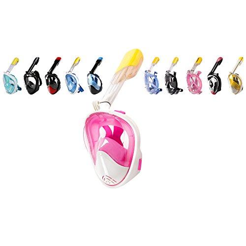 Stay Active ein, die Schnorchel–180° Full Face Panorama Schnorcheln Maske–freie Atmung Design mit Anti-Nebel und Anti Leck Technologie sowohl für Erwachsene & Kinder, Rosy (Tank Top Up Pink Dress)