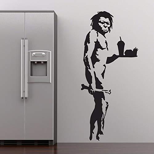 guijiumai Banksy Fast Food Caveman Graffiti Wandkunst Aufkleber Dekoration Wandbild Removable Schlafzimmer Dekor Aufkleber Rosa 58x26cm (Caveman Kochen)