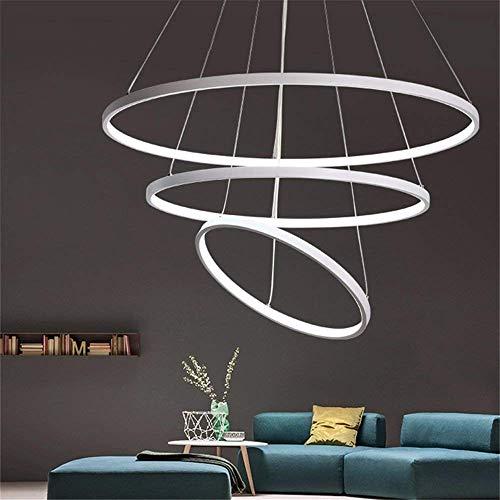 W-LI Led Pendent Lampen Acryl Kronleuchter Deckenleuchte Leuchte Deco Restaurant Lichter Industrielle Leuchten 1 Ring 60 cm Weißes Licht (Deco-leuchten)