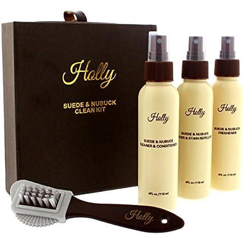 Holly Pelle Scamosciata & Nubuck Kit Di Cura - Addetto Alle Pulizie, Protettore & Deodorante