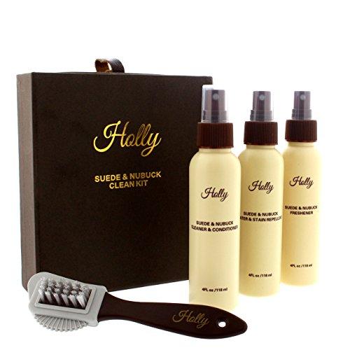 Holly Wildleder & Nubuk Pflegeset - Reiniger, Beschützer & Lufterfrischer (Stiefel Wildleder Pflege)