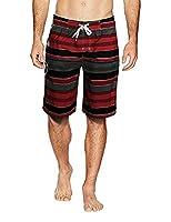 APTRO Men's Quick Dry Board Shorts Printed Stripe Swimwear 1703 Red Waist 31-32W