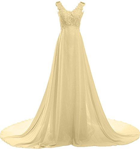 Milano Bride Damen Modisch V-Ausschnitt A-Linie Abendkleider Brautjungfernkleider Ballkleider Festkleider Chiffon mit Spitze Applikation Schleppe Narzisse
