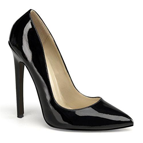 Devious SEXY-20 Damen Stiletto High Heels, Lack Schwarz, EU 45 (US 14) (Stiletto Heel Fetisch)