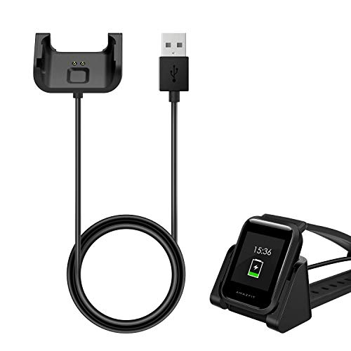 MoKo for Amazfit Bip Charger, Portable Replacement USB Charger Charging Stand Adapter Station Cradle Dock with Cable for Amazfit Bip - Schwarz Charge-dock-cradle