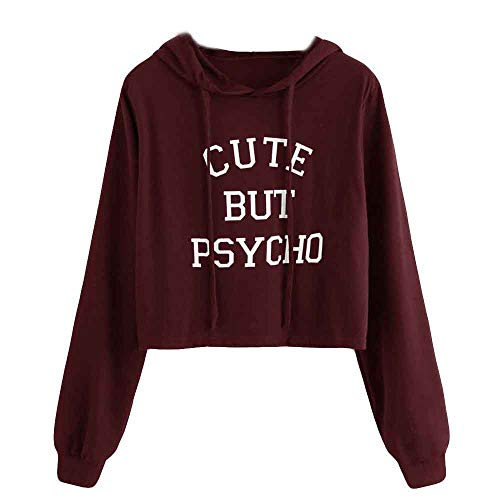 FeiBeauty Frauen kurz langarm einfarbig Cute But Psycho Brief Print Hoodie Sweat Sweatshirt Fashion Vibrant Sweatshirt