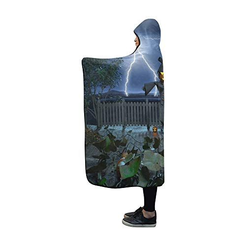 JOCHUAN Kapuzen-Decke 3 D Cg-Rendering Jack O Lantern-Decke 60 x 50 Zoll Comfotable Mit Kapuze ()