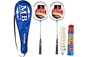 RDM Unisex MB Badminton Combo Set of 2 Racket and 1 Box White Feather Shuttle Cock (Blue)