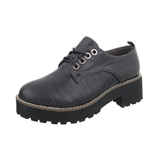 Ital-Design Schnürer Damen-Schuhe Schnürer Blockabsatz Schnürer Schnürsenkel Halbschuhe Dunkelgrau, Gr 37, 2017-3-