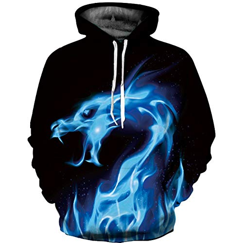 Reihe 3D - Hoodies für Frauen und männer Pullover Lange ärmel Sweatshirt 3D - Hoody mit Drachen - Design,l Ärmel Pullover Hoody