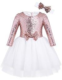 b41bd36659954 Freebily Robe Manches Longues Bébé Fille Robe de Baptême Soirée Paillettes  Blanche Robe Demoiselle d