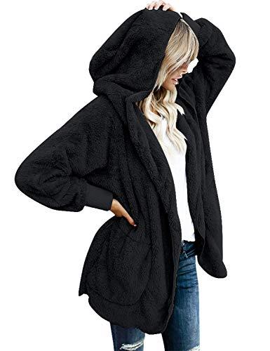 Roskiki Übergroße Drapierte Damen Strickjacke mit Kapuze und Taschen, offene Vorderseite Schwarz X-Large