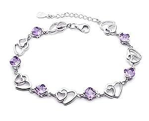 findout dames argent Solidarité et doubles améthyste bracelets en forme de coeur .pour femmes filles. (f20)