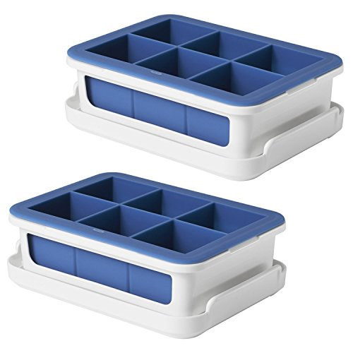 OXO Good Grips Silicone Stackable Ice Cube Tray with Lid - Large Cube (Set of 2) Oxo Ice Cube Trays