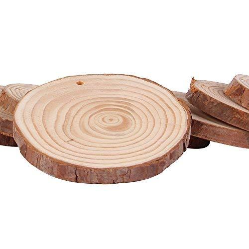 blanko Holz Scheiben mit bellt Bulk für Basteln, 20Stück unlackiert Kiefer Natur Weihnachten Ornaments zu malen 1 size 20 pcs ()