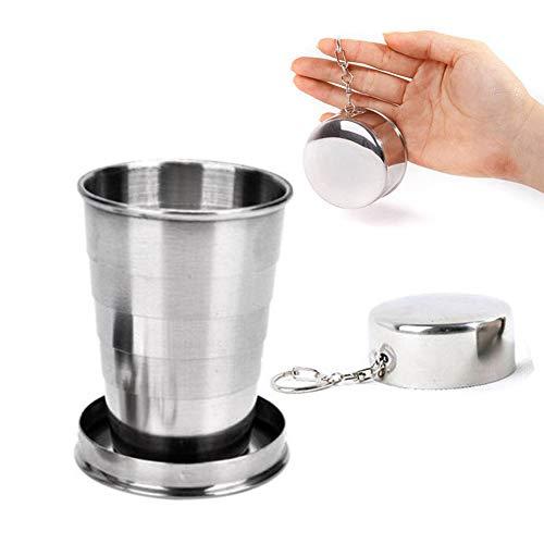 XIAMUSUMMER Edelstahl Travel Folding Glass Cup, Kompakter Faltbecher Trinkbecher mit Anhänger passend mit Schlüsselanhänger für Festivals, Camping, Bergsteigen, Wandern, Hiking -