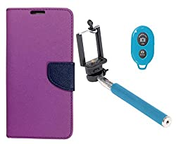 Novo Style Book Style Folio Wallet Case Samsung GalaxyA5 Purple + Selfie Stick with Adjustable Phone Holder and Bluetooth Wireless Remote Shutter