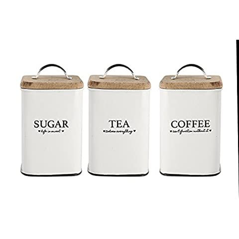 Heart Of The Home Set Of 3 Storage Tea Coffee Sugar Tins Canisters Wooden Lid by Sifcon