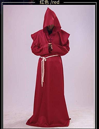 WEII Halloween Kostüm mittelalterlichen Priester Robe COS (Rote Roben Kostüm)