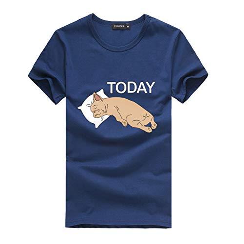 Linkay T Shirt Damen Kurzarm Bluse Oansatz Tops Herz Print Tops Mode 2019 (Dunkelblau-1, XXX-Large)