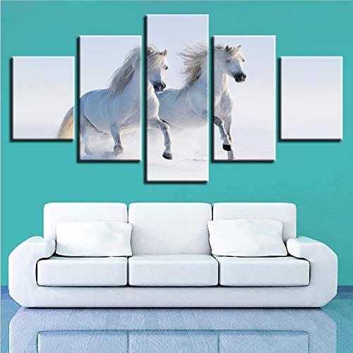 mmwin Moderne HD Gedruckt Wandkunst Direct Selling Arbeit Leinwandbild 5 Stücke Tiere Pferd Landschaft Poster Wohnkultur
